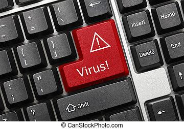 Conceptual keyboard - Virus (red key)