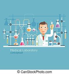conceptual., laboratoire médical