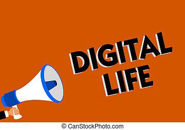 conceptual, letra de mano, actuación, digital, life., empresa / negocio, foto, showcasing, vida, en, un, mundo, interconexionado, por, internet, multimedia, hombre, tenencia, altavoz, fondo anaranjado, mensaje, speaking.