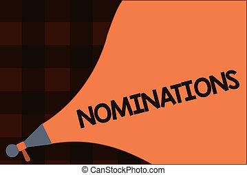 conceptual, letra de mano, actuación, nominations., empresa / negocio, foto, texto, suggestions, de, alguien, o, algo, para, un, trabajo, posición, o, premio
