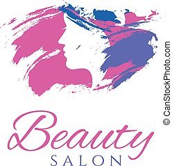 Conceptual logo silhouette of a woman with hair. Template design for beauty salon. Vector illustration