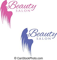 Conceptual logo silhouette of a woman with hair. Template...