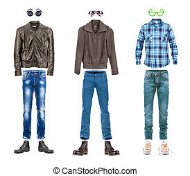 conceptual menswear collection street style isolated on white