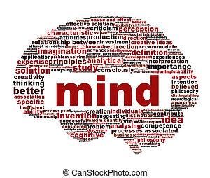 conceptual, mente, símbolo, diseño