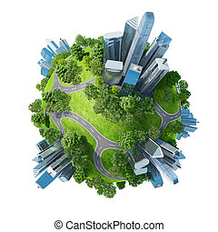 Conceptual mini planet green parks along with skyscrapers and roads. Calmness in city chaos. One of a series. Isolated.