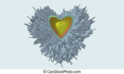 Conceptual Miniature City Globe In Heart Shape. Planet For...