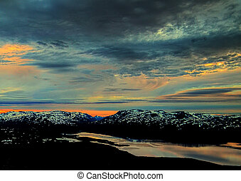 Conceptual painting-like image of summer night sky on mount Nuolja in Norrbotten, Sweden.