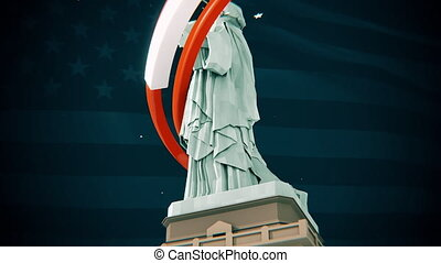 Conceptual patriotic animation, Statue Liberty with American flag.