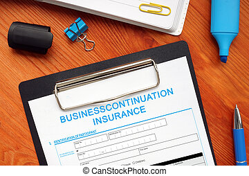 Conceptual photo about BUSINESSCONTINUATION INSURANCE with handwritten text.