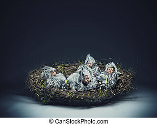 Conceptual photo of a nestling child
