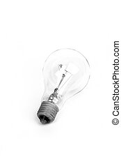 conceptual photo of light bulb on a white background