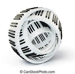 piano keys - conceptual piano keys isolated on a white...