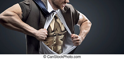 Conceptual picture of a man with golden chest