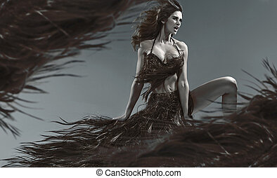 Conceptual picture of a woman with the hair theme.