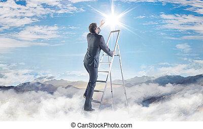 Conceptual picture of businessman achieving a success -...