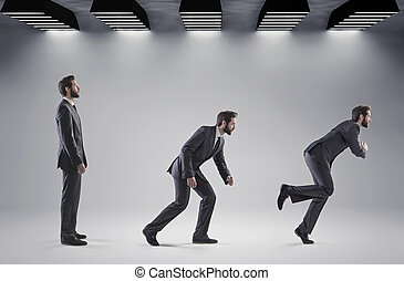 Conceptual picture of man starting his career