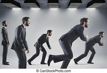 Conceptual picture of running businessmen