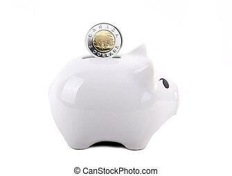 Conceptual Piggy Bank With Coin Deposit - White piggy bank...