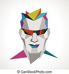 Conceptual polygonal face of a man with sunglasses.