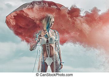 Conceptual portrait of a blonde holding smoky umbrella