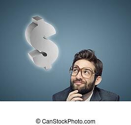 Conceptual portrait of a nerdy businessman