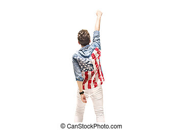 Conceptual portrait of a patriotic man