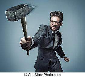 Conceptual portrait of a powerful businessman