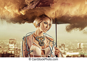 Conceptual portrait of a woman holding smoky umbrella