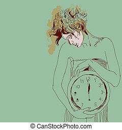 Conceptual portrait of woman with big clock. Vector illustration.