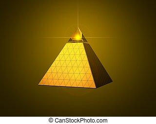 conceptual pyramid design with light beam eye on top. golden...