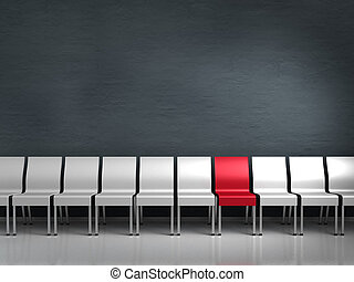 conceptual render showing a row of chairs with one being different