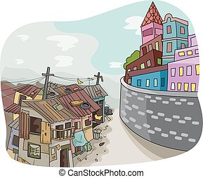 Conceptual Rich Poor Divide - Landscape Illustration