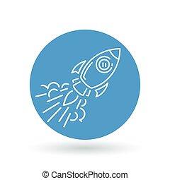 Conceptual rocket flying icon. Space Rocket flying sign. Spaceship symbol. Vector illustration.