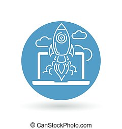 Conceptual rocket launch icon. Spaceship with laptop and clouds sign. Rocket take-off symbol. Vector illustration.
