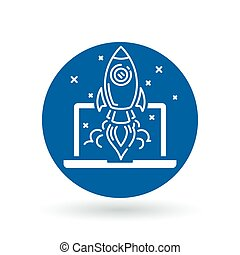 Conceptual rocket launch icon. Spaceship with laptop and stars sign. Rocket take-off symbol. Vector illustration.