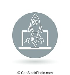 Conceptual rocket launch icon. Spaceship with laptop sign. Rocket take-off symbol. Vector illustration.