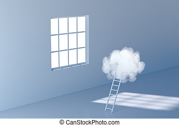 Conceptual room with a ladder lead to the cloud, 3d rendering.