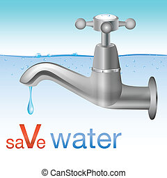 Conceptual save water design with tap dripping water into...
