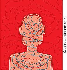 Conceptual scribbled person head