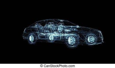 Conceptual sedan car. 3D illustration video