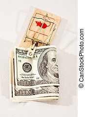 money trap - conceptual series: two money trap with dollar...