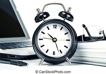 Conceptual shot of office work in relation with time ...
