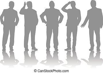 conceptual., silhouettes affaires, gens.