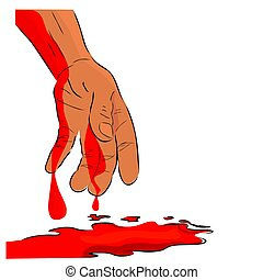 Simple Vector Hand Draw Sketch, Illustration for victim of criminal, Blooding Hand of Dead Body, Isolated on White