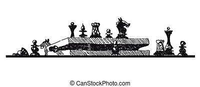 Conceptual sketch illustration with chess pieces and box on white background