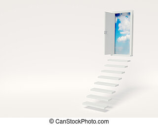 stair - conceptual  stair on white bacground