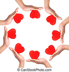Conceptual symbol of love, hand with heart isolated on white...