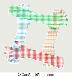 human hands making a box vector