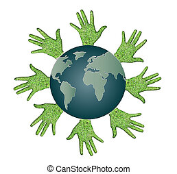 Conceptual symbol of the Earth with human hands around