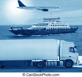 transportation by various means of transport on roads by water and by air